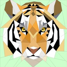 Tiger Geometric paper pieced block www.quiltartdesigns.blogspot.com