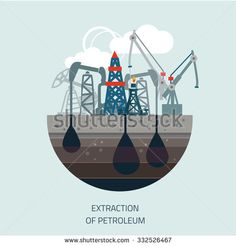 Drilling rig at sea. Oil platform, gas fuel, industry offshore, drill technology, flat vector illustration - stock vector