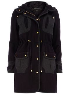 Dorothy Perkins  Navy wool ultimate parka