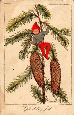 """Gloedelig Jul"" , ""Merry Christmas"" postcard. Antique Norwegian postcard."