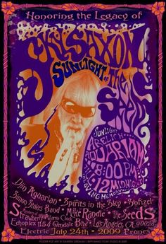 Sky Saxon and The Seeds Psychedelic rock poster by darrengrealish, $30.00