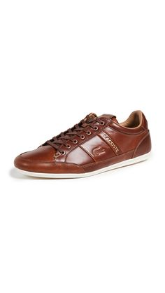 LACOSTE CHAYMON LOW-PROFILE SNEAKERS. #lacoste #shoes Lacoste Trainers, Lacoste Shoes, Lacoste Men, Athletic Fashion, Embossed Logo, Fashion Flats, Leather Sneakers, Front Row, Lace Up