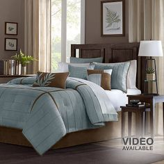 Madison Park Kirkwood, 7 pc, pintuck comforter set, Kohls, microsuede fabric, blue/multi colored, clean lines, guest bedroom