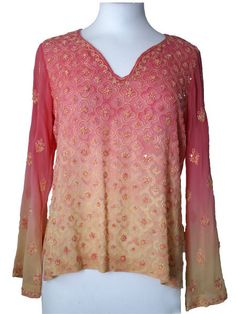 Pink/Yellow Silk Kurti Top