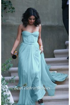 Vanessa Hudgens Strapless Light Blue Evening Dress Formal Gowns | BestCelebrityDresses