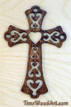 """Gods Love Cross, """"fancy"""" Wood Cross, for Wall Hanging or Ornament, Item S5-2"""