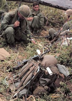 Vietnam War, 1969, Soldier of the 4th Infantry Division on the radio.