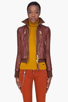 DSQUARED2 Brown Kinky Knit Leather Jacket