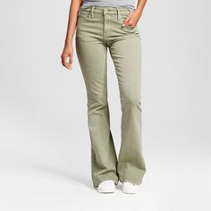 Women's High Rise Flare Jeans Green