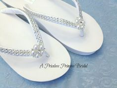 2 WEDGE Wedding Flip Flops with Satin Bling by APricelessPrincess, $41.95