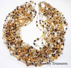 "Joan Rivers Natural & Pearl Jeweltone Torsade 36"" Necklace New QVC #JoanRivers"