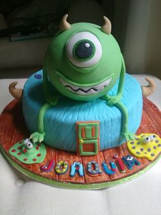 Monters: Mike Wazowski and Sulley - Chocolate mud cake, covered with chocolate buttercream and decorated with fondant.