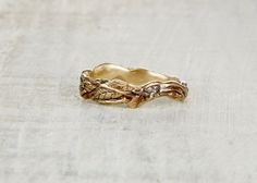 Lowell Wedding Ring 14kt Gold Twisted Vine and by OliviaEwing