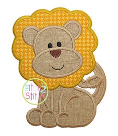 """Lion Applique Design, Shown with our """"Adipose Unicase"""" Font NOT Included, In Hoop Size(s) Embroidery Monogram Fonts, Applique Embroidery Designs, Machine Embroidery Applique, Applique Patterns, Applique Quilts, Embroidery Stitches, Dog Quilts, Baby Quilts, Vinyl Designs"""