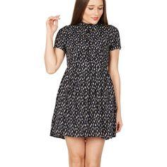 Navy leopard print shirt dress