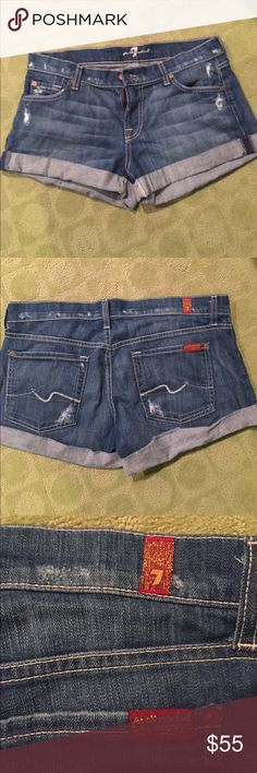 7 FOR ALL MANKIND Cuffed Jean Shorts Excellent condition 7 For All Mankind Shorts Jean Shorts