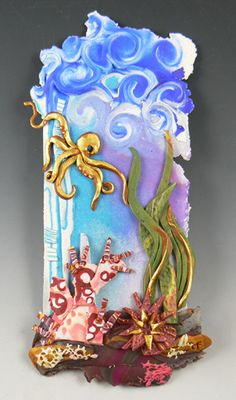 I've been playing with a polymer collage style recently - explorations of color and texture.  I like how this one turned out.   #polymer #wall-art #octopus #sea #collage #christiFriesen