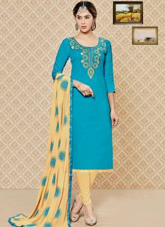 Grandiose Embroidered Work Cotton   Churidar Suit