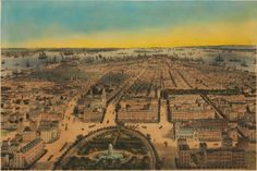 A Bachmann lithograph showing the NYC Skyline from Union Square in 1849. Broadway and 4th Ave. at 12th st are immediately recognizable. Notice something odd? The Square is Oval!
