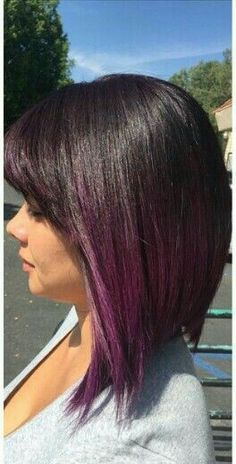87 unique ombre hair color ideas to rock in 2018 - Hairstyles Trends Hair Color Purple, Cool Hair Color, Plum Purple, Brown Hair Purple Ends, Purple Ombre Hair Short, Brown To Purple Ombre, Brown Hair With Purple Highlights, Purple Tips, Ombre Bob