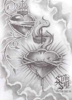 Chicano Art Tattoos, Chicano Drawings, Body Art Tattoos, Graffiti Tattoo, Graffiti Lettering, Arte Lowrider, Bible Tattoos, Sacred Heart Tattoos, Brust Tattoo