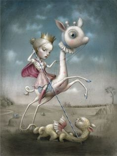 'The Princess & The Prey', 2008. Acrylic & pencil on paper is part of Nicoletta Ceccoli's 12 page editorial in #beautifulbizarre Issue 008    Buy beautiful.bizarre via our stockists: https://beautifulbizarre.net/shop/stockists/   or shop online: https://beautifulbizarre.net/shop/   today.