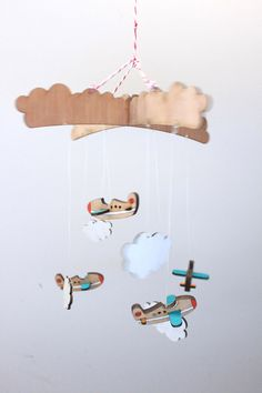 aeroplane baby mobile made by kirsty eckard. her etsy store is awesome! solittletimeco