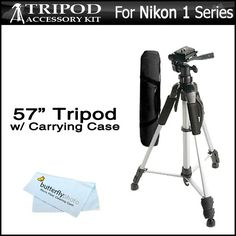 "57"" Camera Tripod w/ Carrying Case For Nikon 1 J1 V1, Nikon 1 J2 Mirrorless Digital Camera + BP MicroFiber Cleaning Cloth"