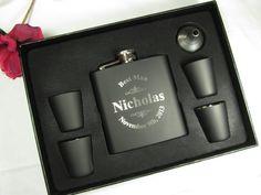 Personalized Flask Gift Set Groomsman Best Man Father of the Bride Engraved Wedding Keepsake Favor via Etsy