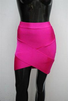 Aussie' hot pink v  bandage skirt £35