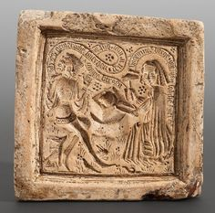 mid 15C German clay biscuit-mould depicting lady beating lover's heart on the anvil. Banderoles: He: iamerliche smerczen den ir myr dut in myme herzen [terrible pain that you do to my heart]. She: vngetruwe hercze dut man soliche smercze [such pain is done to unfaithful hearts]. via the Staatliche Museen zu Berlin website