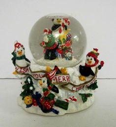Sankyo Christmas Musical Snow Globe Penguins Wish You A Merry Christmas