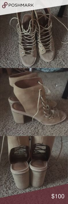 Final price! NWOT free people tan sandals Really cute worn ONCE in perfect condition free people sandals size 8.5 Free People Shoes Sandals