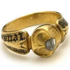 Medieval Italian inscribed bezel-set diamond ring, c. Credit and thanks britishmuseum/medieval visions. Renaissance Jewelry, Medieval Jewelry, Ancient Jewelry, Italian Renaissance, Antique Rings, Antique Jewelry, Vintage Jewelry, Wedding Ring With Name, Wedding Rings