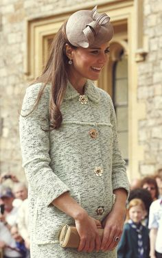 Kate Middleton in green Mulberry coat and beige hat