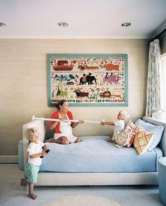 Lonny Magazine October/November 2010: Lulu de Kwiatkowski and her two sons in their bedroom.