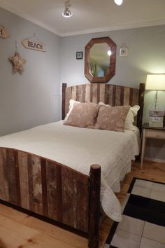Queen Bed in Reclaimed Barnwood and Hickory Logs