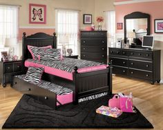 Fascinating Teen Room Zebra Interior Design with Striped Decorations -  http://ipriz.com/fascinating-teen-room-zebra-interior-design-with-striped-decorations/  http://ipriz.com/wp-content/uploads/2014/06/Amusing-teen-bedroom-sets-with-combination-of-black-and-pink-with-zebra-motif-mirror-painting-teen-bedding-sets-for-teen-furniture-stores--970x776.jpg