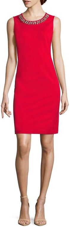 LIZ CLAIBORNE Liz Claiborne Sleeveless Sheath Dress-Talls