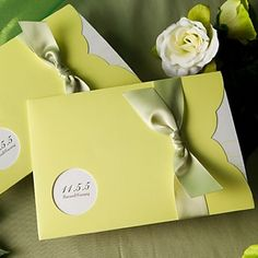 Amazing Green Pocket Nature Ribbon Horizontal Wedding Invitations, 100 pcs/lot