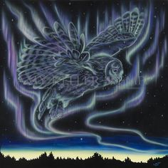 Sky Dance Series of an owl flying in the night by Amy Keller-Rempp Art. by acrylic on canvas. Original still available, giclee prints and fine art cards also available. Canadian Wildlife, Aboriginal Artists, Art Cards, Spirit Animal, Giclee Print, Northern Lights, Amy, Dance, Fine Art
