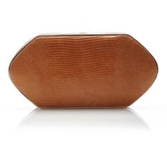 Hunting Season Compact clutch featuring polyvore, women's fashion, bags, handbags, clutches, brown crocodile handbag, brown purse, hunting season handbags, croco handbag and crocodile embossed handbags