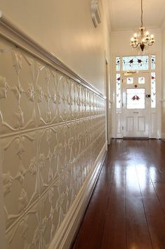 tin wainscoting for wall Tin Ceiling Tiles, Metal Ceiling, Wall Tiles, Tin Walls, Metal Walls, Metal Wall Panel, Wainscoting Stairs, Ceiling Design, Wall Treatments