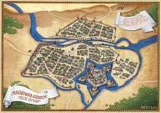 Nagyvara/Oradea - Middle Ages fantasy map by qpiii on DeviantArt Fantasy Map Maker, Cartography, Middle Ages, Presentation, Deviantart, Drawings, Ottoman Empire, Fantasy Map Creator, Sketches