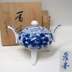 Japanese Arita Blue and White Porcelain Koro/ Incense Burner Artist Signed w/ Box