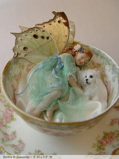 #fairy in teacup with #dog ...  #sculpture