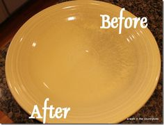 Get rid of utensil marks on dishes....this plate half cleaned with Bar Keepers friend...amazing result!