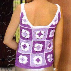 tejidos artesanales en crochet: musculosa tejida en crochet (talle 1)