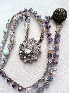 Rhinestone Beaded Crochet Necklace Boho by TamiLopezDesigns, $64.00