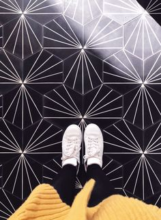 This cement tile is a hex Black and white tile and is handmade. This geometric tile offers an eye-catching design for your space. Shop the Nola Black tile. Hexagon Tile Bathroom, Hex Tile, Black Bathroom Decor, Bathroom Ideas, Condo Bathroom, Basement Bathroom, Bathroom Inspiration, Tiled Hallway, Entry Tile